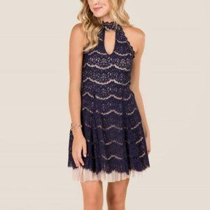 Francesca's Caitlin Gigi Neck Tulle A Line Dress S